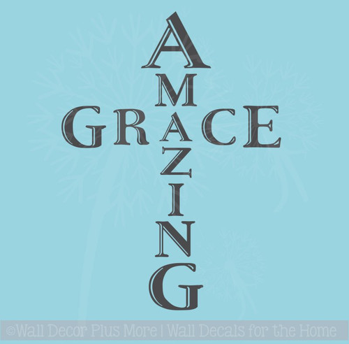 Amazing Grace Cross Vinyl Letters Art Religious Wall Stickers Quotes