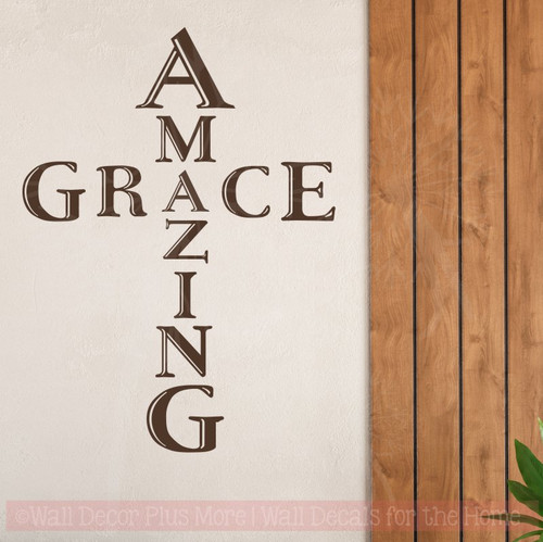 Amazing Grace Cross Vinyl Letters Art Religious Wall Stickers Quotes-Chocolate