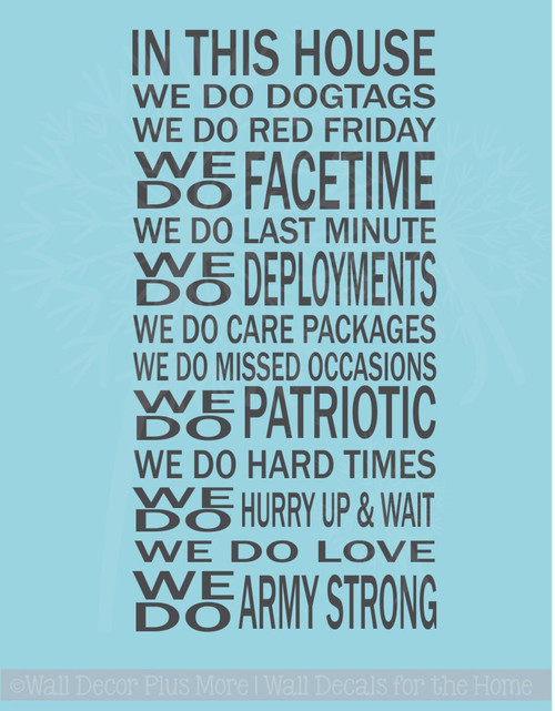 In This House We Do Dog Tags Army Strong Military Wall Decals Quotes