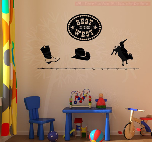 Cowboy Bull Riding Set Wall Decal Stickers Western Bedroom Decor-Black