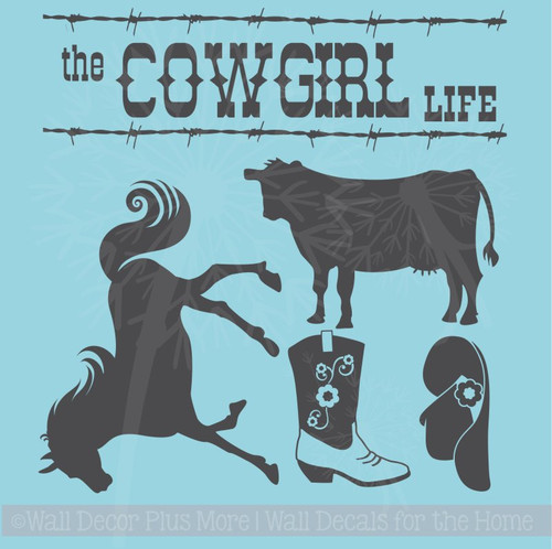 The Cowboy Cowgirl Life Set Western Vinyl Wall Decals Room Decor