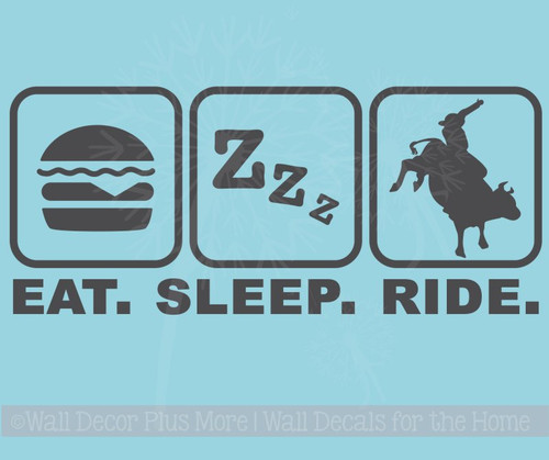 Eat Sleep Ride Cowboy Cowgirl Vinyl Decals Western Wall Stickers