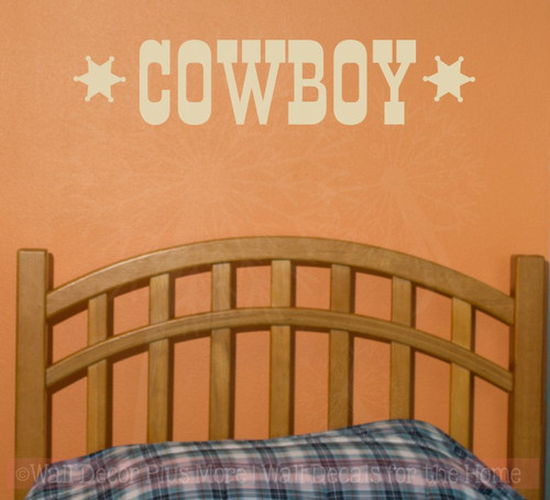 Cowboy Western Vinyl Lettering Art Boy Bedroom Wall Decals Quotes-Beige
