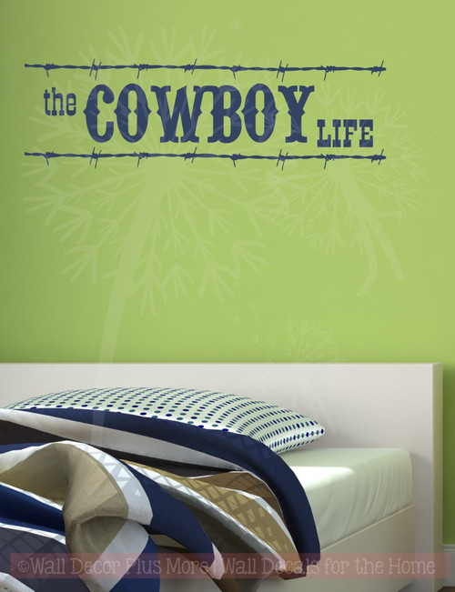 Cowboy Life Western Wall Decal Vinyl Lettering Sticker Art Boy Decor-Deep Blue