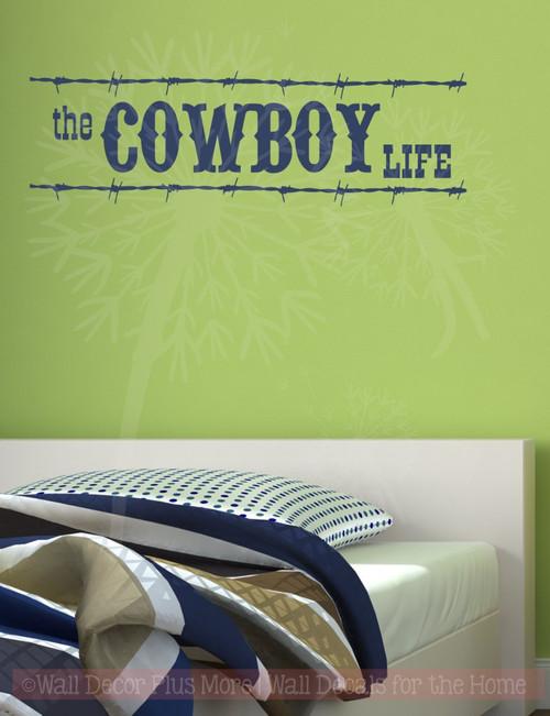 Cowboy Life Western Wall Decal Vinyl Lettering Sticker Art Boy Decor-Deep Blue