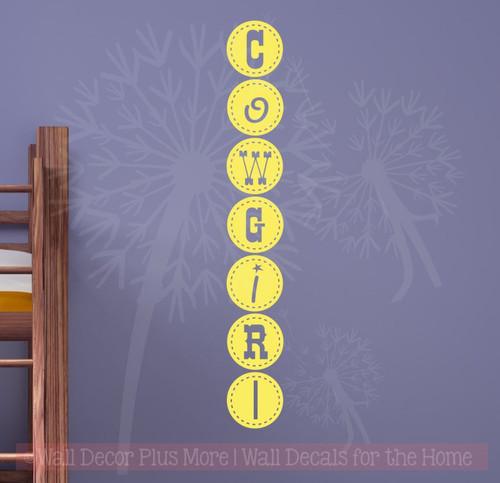 Cowgirl Funky Lettering Western Wall Decal Sticker Vinyl Art Girls Decor-Light Yellow