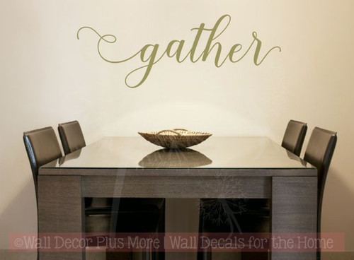 Gather Handwritten Font Vinyl Lettering Fall Wall Decal Stickers-Metallic Gold