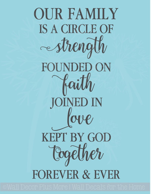 Family Circle Strength Faith Love Vinyl Letters Religious Wall Decals