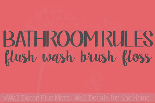Bathroom Rules Wall Decals Stickers Wash Floss Vinyl Lettering Quotes