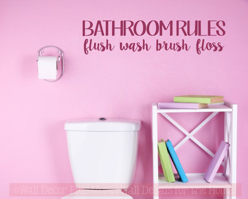 Bathroom Rules Wall Decals Stickers Wash Floss Vinyl Lettering Quotes-Berry