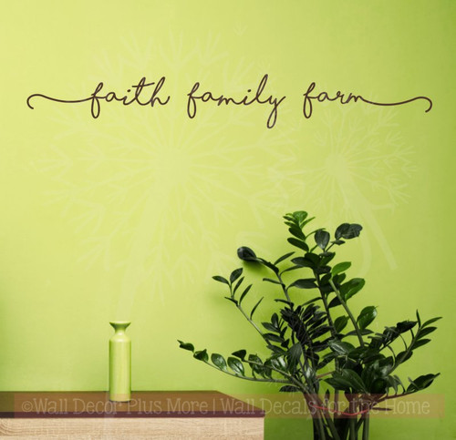 Faith Family Farm Wall Stickers Vinyl Lettering Decals Home Decor-Chocolate
