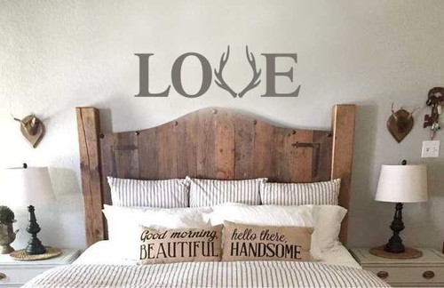 Love with Deer Antlers Wall Decals Vinyl Letters Farmhouse Rustic Hunting Wedding-Castle Gray