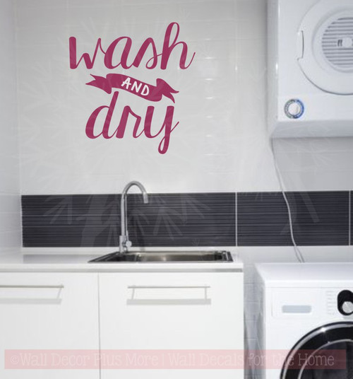Wash and Dry Laundry Wall Decals Vinyl Letters Stickers Home Decor-Berry