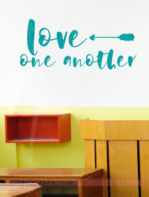 Love One Another with Arrow Wall Stickers Cursive Letters Wall Art Decals-Teal