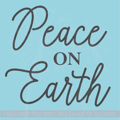 Peace on Earth Vinyl Lettering Sticker Christmas Wall Decals Quote