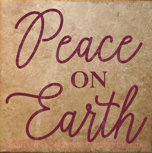 Peace on Earth Vinyl Lettering Sticker Christmas Wall Decals Quote-Burgundy