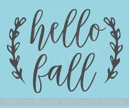 Hello Fall Laurel Leaf Wreath Vinyl Art Stickers Autumn Pumpkin Decals
