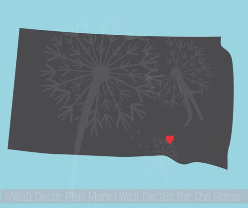 State Silhouette with Heart Customized Wall Sticker Vinyl Decals Art, 6 or 12-Inch