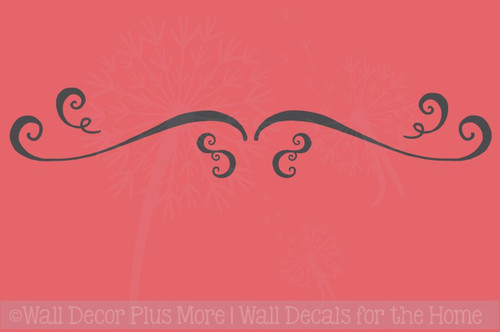 Swirls Swoops Vinyl Stickers Wall Art Decals Kitchen Living Décor Set of 6