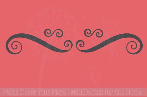 Modern Swirls Wall Decals Art Vinyl Stickers Living Room Home Décor Set of 4