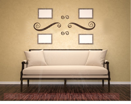 Modern Swirls Wall Decals Art Vinyl Stickers Living Room Home Décor Set of 4-Chocolate