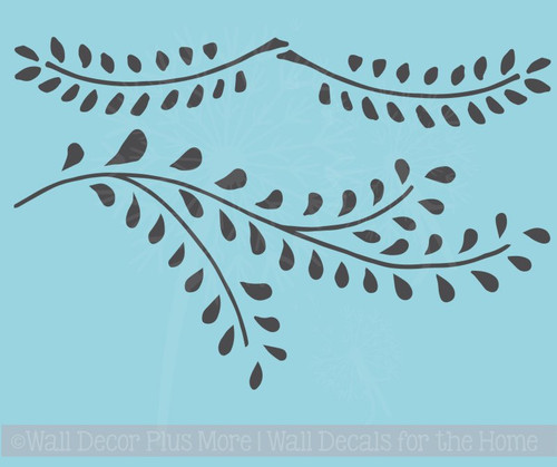Laurel Leaf Branch Wall Decals Flower Vinyl Art Stickers for Modern Decor