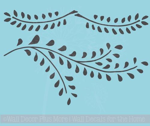 Laurel Leaf Branch Wall Decals Flower Vinyl Art Stickers for Modern Decor
