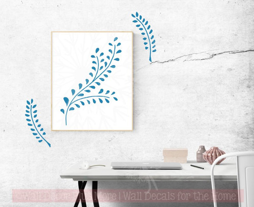 Laurel Leaf Branch Wall Decals Flower Vinyl Art Stickers for Modern Decor-Bayou Blue