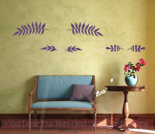 Olive Branch Art Vinyl Stickers Wall Art Decals Home Décor Set of 6-Plum