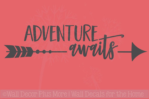 Adventure Awaits with Arrow Vinyl Lettering Words Wall Sticker Decals