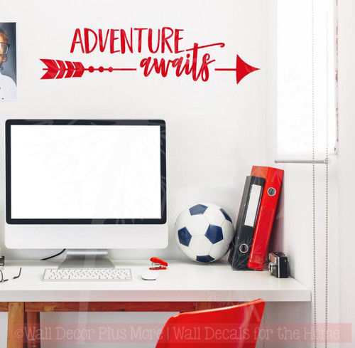 Adventure Awaits with Arrow Vinyl Lettering Words Wall Sticker Decals-Cherry Red