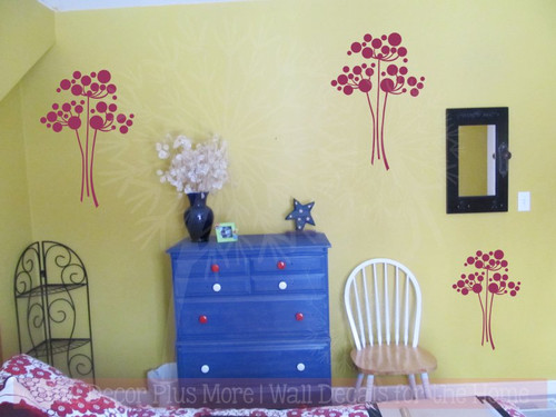 Flower Wall Decals Vinyl Art Home Wall Décor Stickers Set of 3 Flowers-Berry