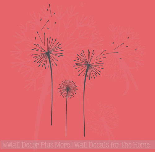 Dandelions Flower Wall Art Decals Vinyl Stickers for Home Décor Set of 3