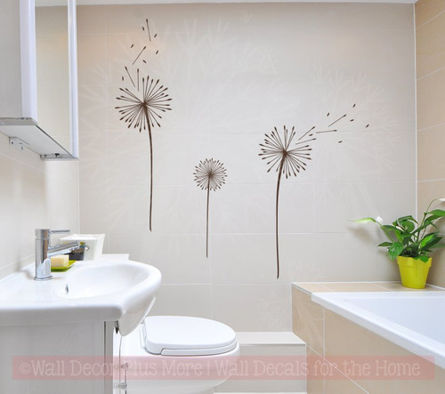 Dandelions Flower Wall Art Decals Vinyl Stickers for Home Décor Set of 3-Chocolate