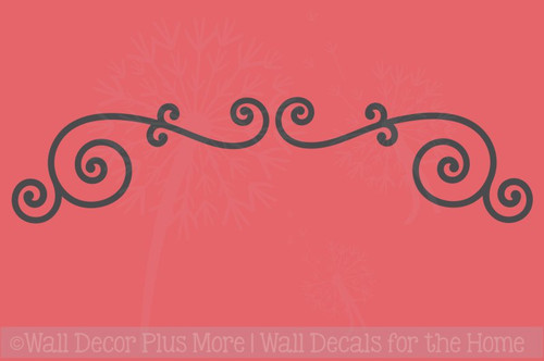Curly Swirls Wall Art Decals Vinyl Stickers Home Wall Décor 2pc Set
