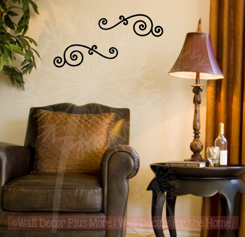 Curly Swirls Wall Art Decals Vinyl Stickers Home Wall Décor 2pc Set-Black