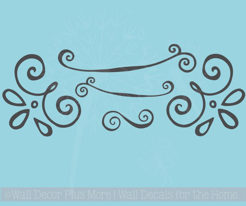 Curly Doodle Swirls Wall Art Stickers Vinyl Decals for Home Décor 5pc