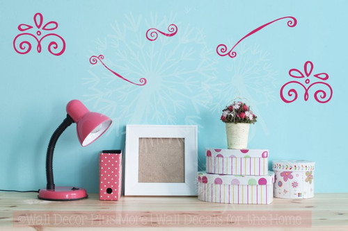 Curly Doodle Swirls Wall Art Stickers Vinyl Decals for Home Décor 5pc-Hot Pink