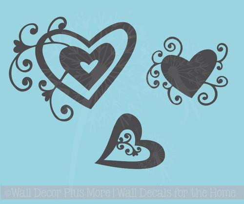 Heart Swirls Vinyl Art Decals Wall Stickers Girls Room Décor 3pc Set
