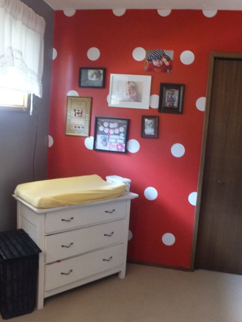 5-Inch Polka Dots Vinyl Wall Stickers in White in Baby Girl Nursery