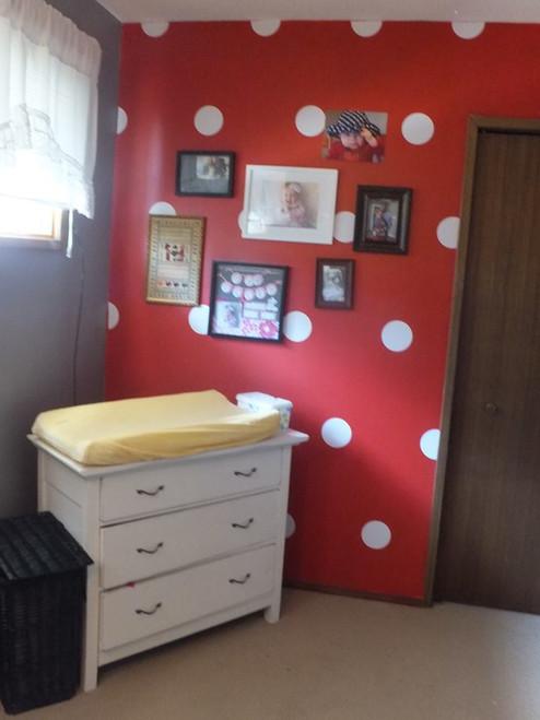 5-Inch Polka Dots Vinyl Wall Stickers in White in Baby Girl Nursery