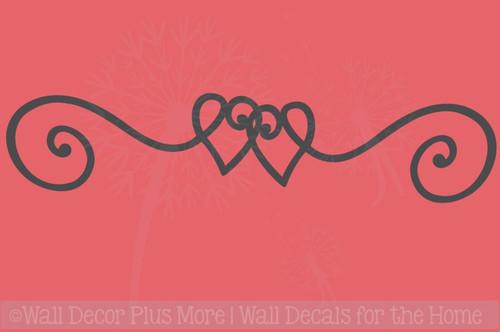 Heart Doodle Swirl Border Vinyl Art Wall Stickers Decal Master Bedroom Decor
