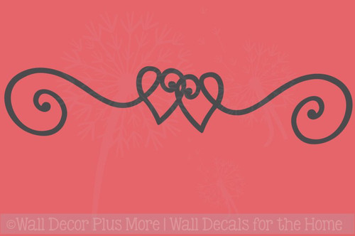 Heart Doodle Swirl Border Vinyl Art Wall Stickers Decal Master Bedroom Decor