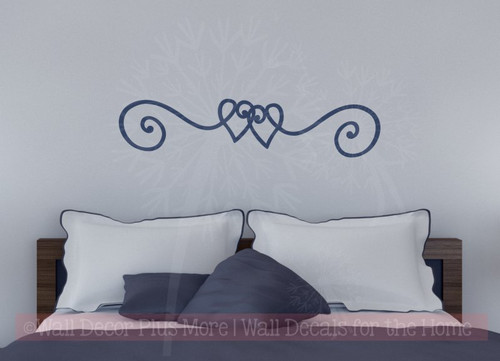 Heart Doodle Swirl Border Vinyl Art Wall Stickers Decal Master Bedroom Decor-Deep Blue