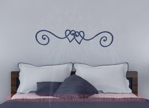 Heart Doodle Swirl Border Vinyl Art Wall Stickers Decal Master Bedroom Decor-Deep Blue