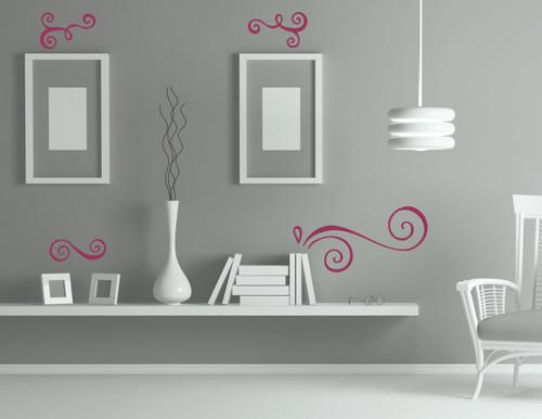Modern Doodle Swirls Vinyl Art Stickers Wall Decals Home Décor 4pc Set-Berry