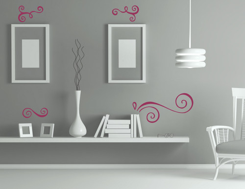 Modern Doodle Swirls Vinyl Art Stickers Wall Decals Home Décor 4pc Set-Berry