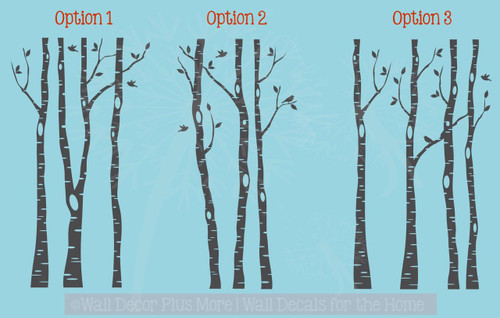 Birch Trees Branches and Birds Modern Wall Art Decal Stickers