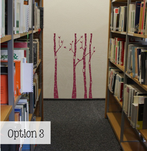 Birch Trees Branches and Birds Modern Wall Art Decal Stickers-Burgundy