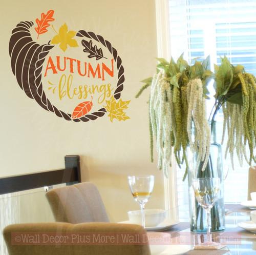 ... Autumn Blessings Fall Home Decor Vinyl Decals Wall Art  Stickers Chocolate, Orange, Mustard